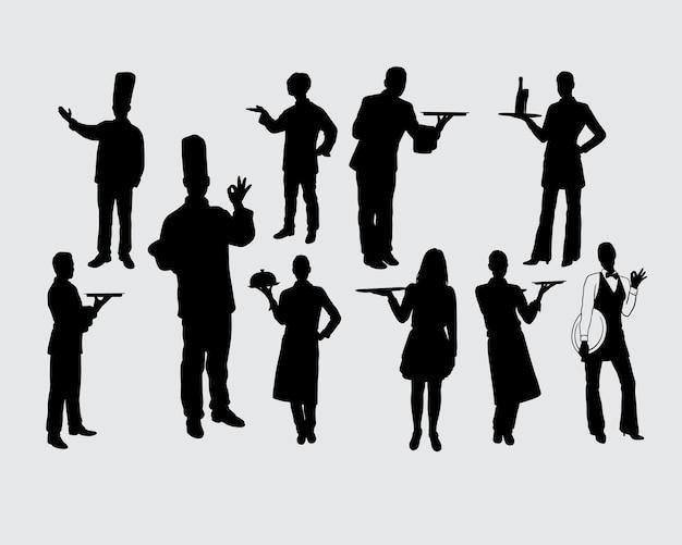 シェフの男性と女性の活動のシルエット