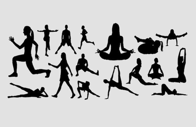 ヨガと瞑想スポーツ活動のシルエット