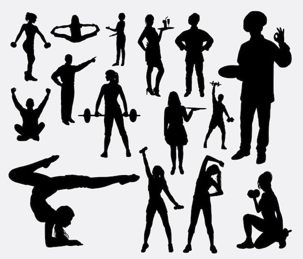 スポーツと趣味の活動のシルエット