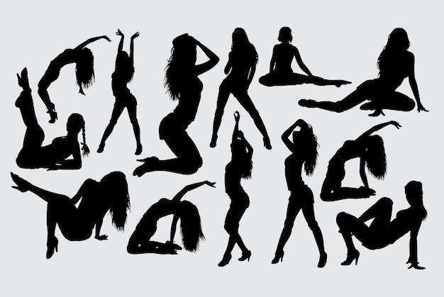 セクシーな女性のアクションのシルエット