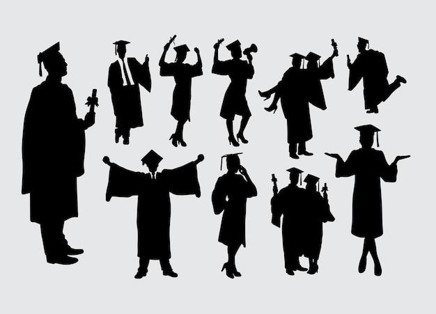 卒業男性と女性のアクションのシルエット
