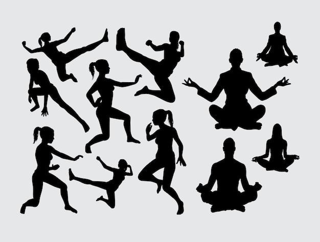 瞑想とスポーツ活動のシルエット