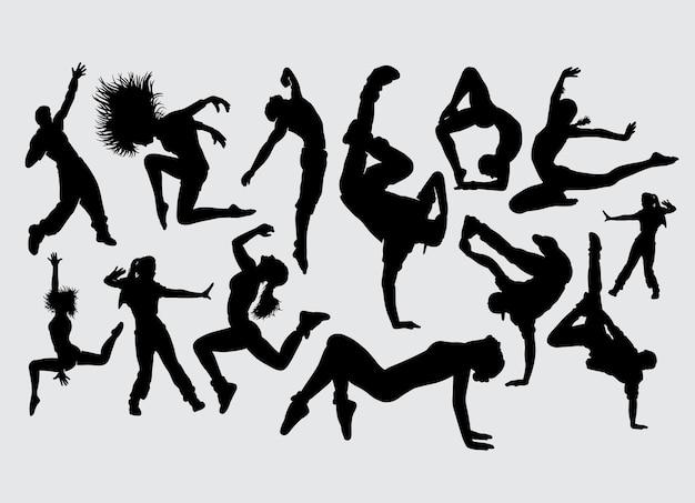 ダンスストレッチエアロビクススポーツのシルエット