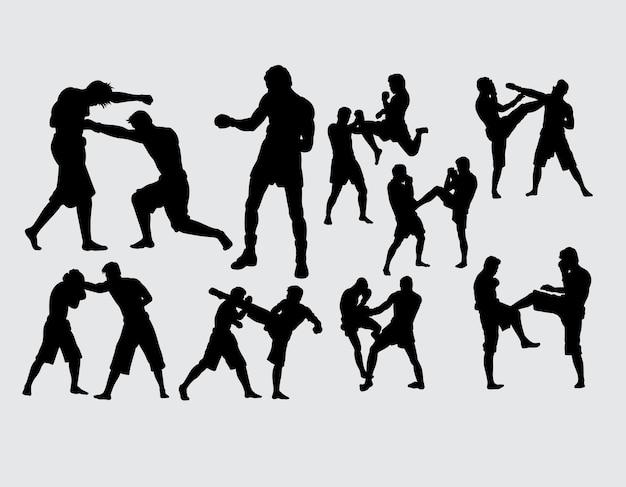 ボクシングと戦うスポーツのシルエット