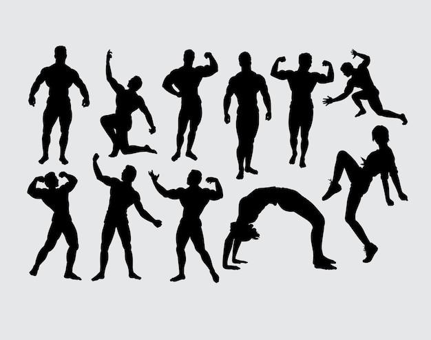 ボディビルディング筋肉ポーズとスポーツトレーニングのシルエット