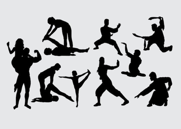 スポーツトレーニングと武道のシルエット