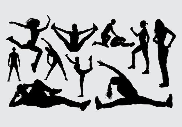 スポーツ男性と女性のシルエット