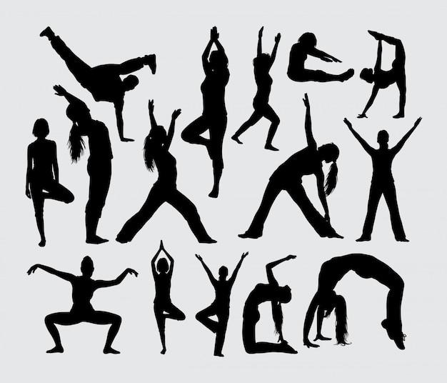 ヨガのブレークダンスとストレッチスポーツのシルエット