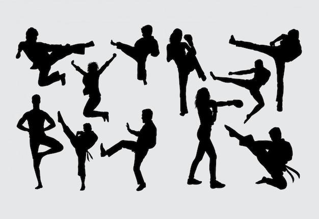 トレーニングスポーツのシルエットと戦う