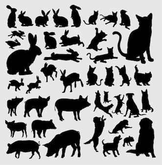 ペット動物のシルエット、ウサギ、猫、豚、犬