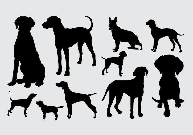 犬と犬のポーズのシルエット