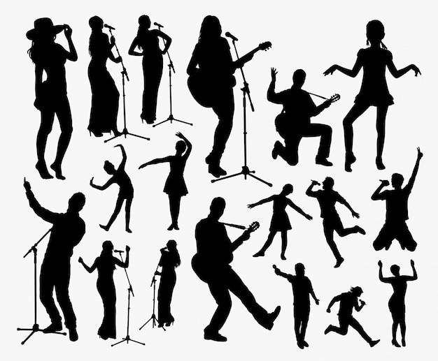 歌手とエンターテイナーのシルエット。シンボル、ロゴ、ウェブアイコン、マスコットなどに適しています。