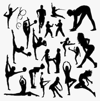 スポーツトレーニングのシルエット。