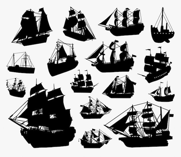 船とボートのシルエット。