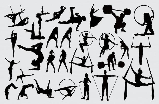 スポーツ活動のシルエット。