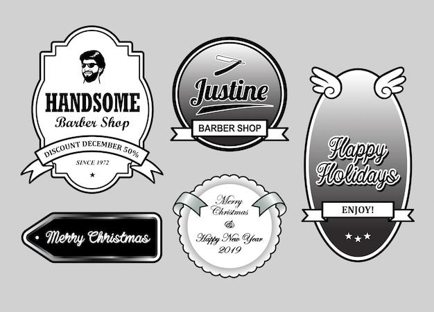 В парикмахерской рождественские и новогодние этикетки, значки