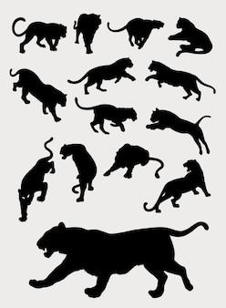 トラ、パンサー、ヒョウ、ジェスチャーのシルエット