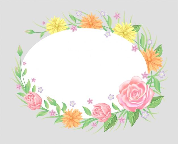 バラの花と葉のテンプレート装飾