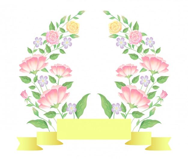 Цветочные с лентой шаблон оформления
