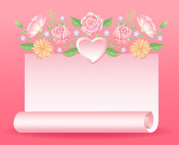 バレンタインや結婚式の日のイベントに適した心と紙の装飾と花の装飾