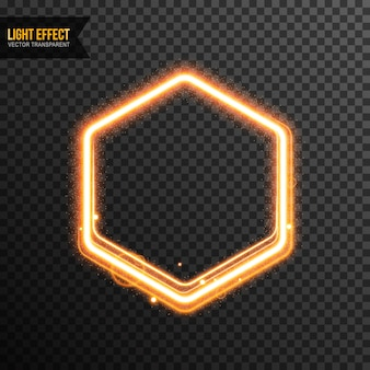 黄金の光沢を持つ透明な六角形の光効果ベクトル