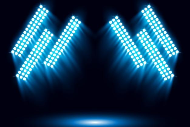 Освещенный синий фон сцены сцены