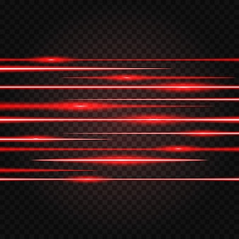 抽象的な赤色レーザービーム光の効果が点灯