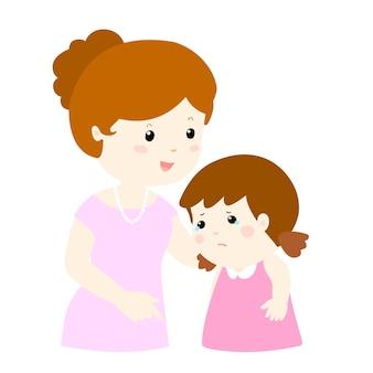 母は泣いている娘を癒す