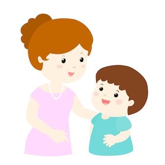 Мама разговаривает с ее сыном мягко мультфильм