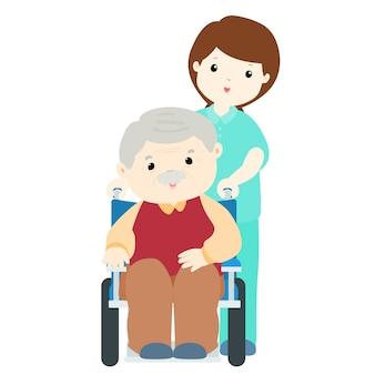 Счастливый дедушка в доме престарелых