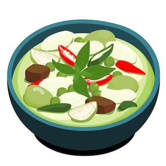 Зеленая курица карри популярная тайская кухня