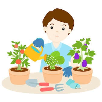 幸せな男は植物を育てる