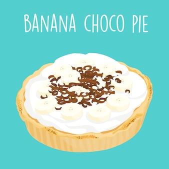 Вкусный банановый шоколадный пирог