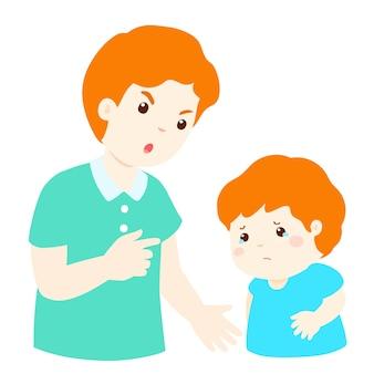 Отец ругает своего сына