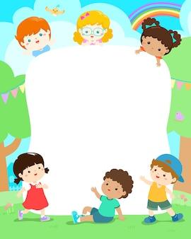 Дети в парке шаблон векторной иллюстрации.
