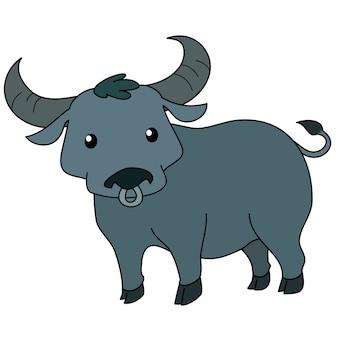 Милый тайский буйвол стоя на белом фоне вектор