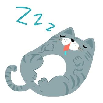 Счастливый толстый серый кот спать векторных иллюстраций