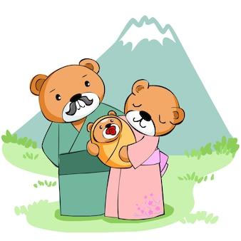 Счастливый семейный медведь в горном векторе