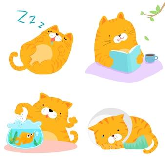 Оранжевый кошка разнообразие действий пакет векторных иллюстраций