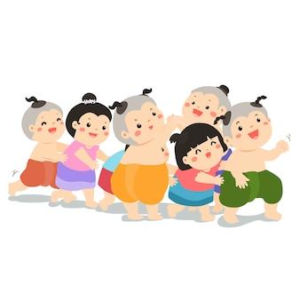 Захват последнего в строке традиционной тайской малыша