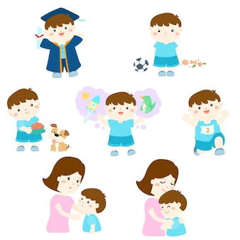 様々な少年の活動の漫画のキャラクターのパック