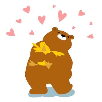 Большой медведь обнимает уток мультяшный персонаж вектор