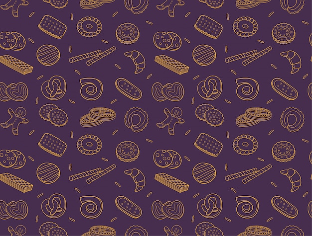 落書きクッキーとビスケットのシームレスパターン