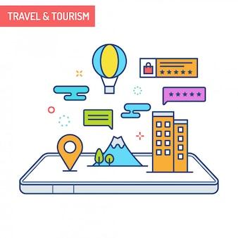 拡張現実コンセプト-旅行と観光