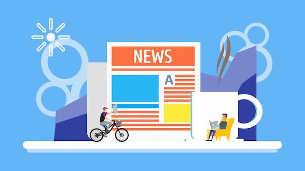 カップコーヒーの背景と新聞を読んでいる男。男は自転車に乗ってニュース見出しで乗ります