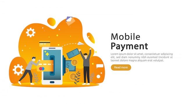 モバイル支払いまたは送金コンセプト。オンライン市場のショッピングイラスト。
