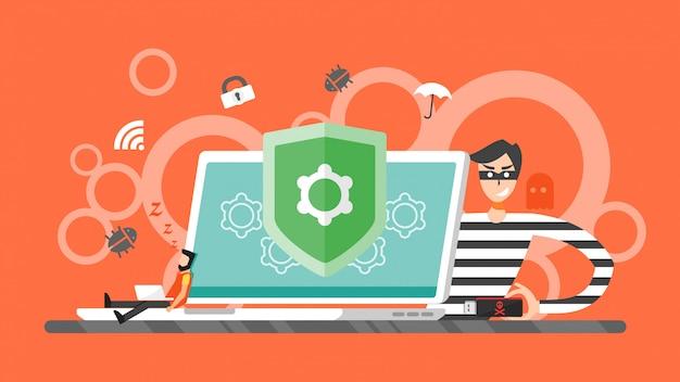 ハッキングの概念。ラップトップコンピュータから個人情報を盗もうとしている泥棒のハッカー。