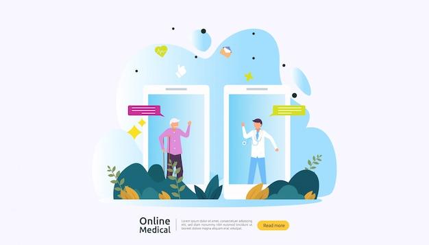 オンライン医療支援アドバイスや人々の文字を持つ医師医療サービスの概念