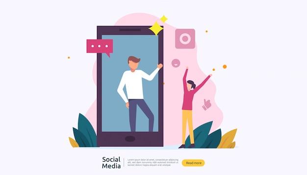 Сеть социальных медиа и концепция влияния с характером молодых людей в плоском стиле