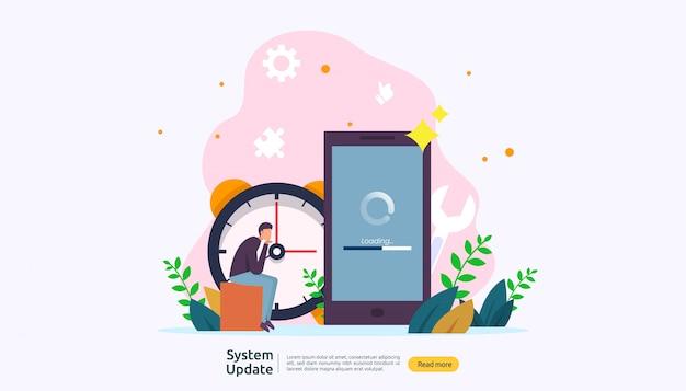 Концепция прогресса обновления операционной системы.